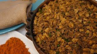 ዱለት - Dulet Recipe Tripe Kidney Liver (Gubet Kibe Mitmita Injera)