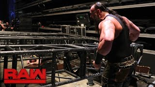 Braun Strowman pulls part of the Raw set down on top of Kane and Brock Lesnar: Raw, Jan. 8, 2018