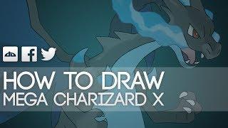 How To Draw Mega Charizard X Step By Step Tutorial Pokemon