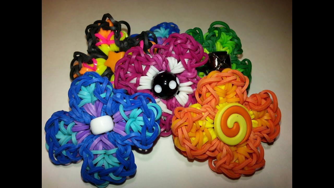 how to make a rainbow loom flower charm