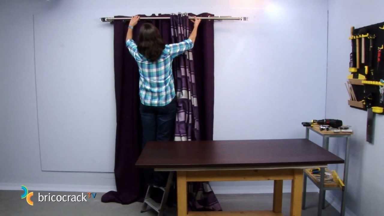 Colgar barras de cortinas bricocracktv youtube - Barra doble cortina ...