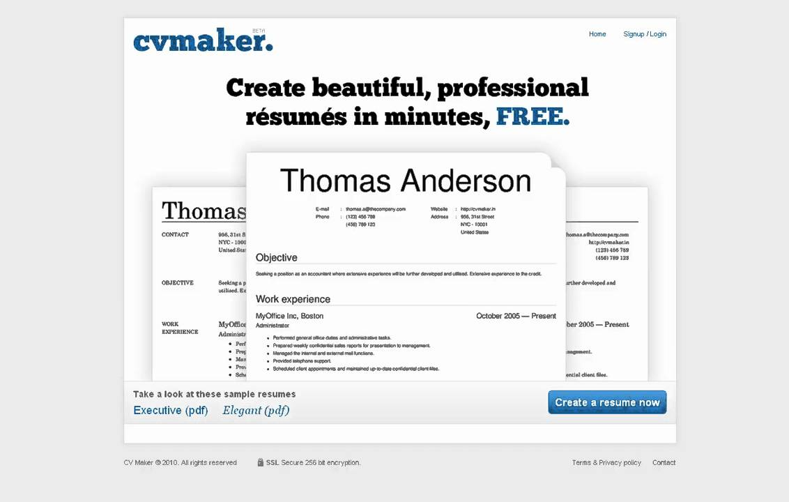 CVMaker Create a Free Resume line