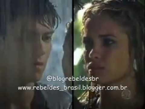 Rebelde Brasil - Diego e Roberta se beijam na chuva após fazerem as pazes (08/02/2012)