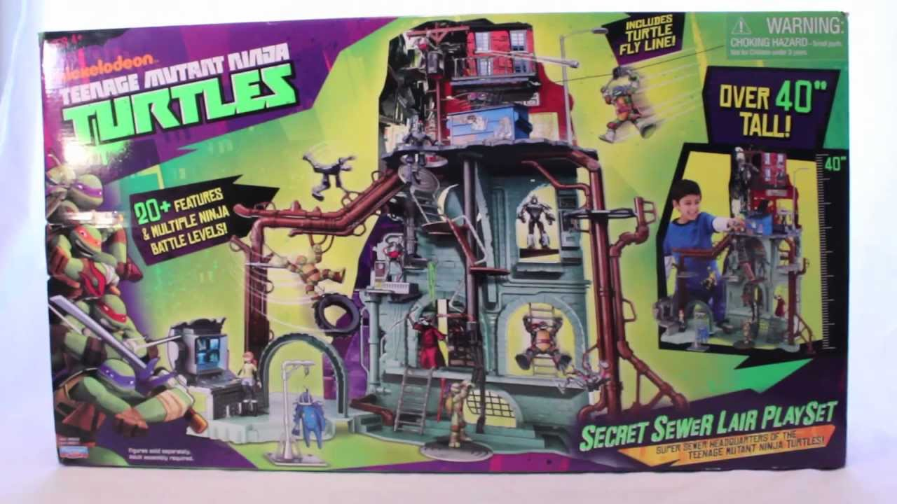 Tmnt 2012 secret sewer lair playset review youtube