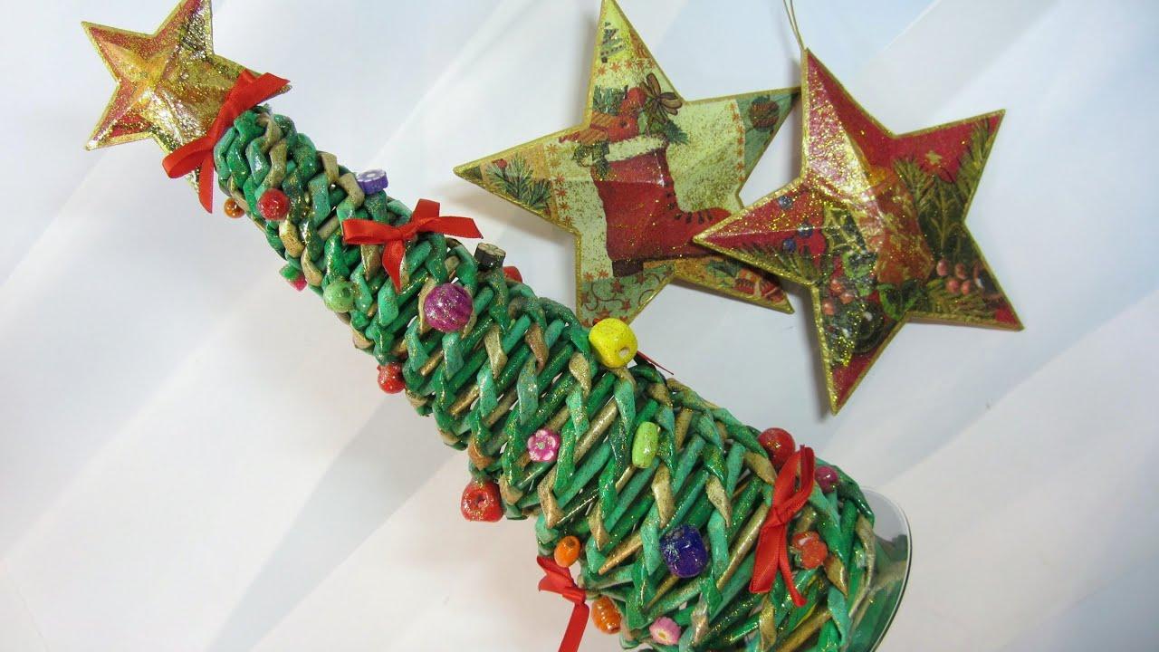 Como hacer un rbol de navidad hecho con peri dicos tree - Tutorial arbol de navidad ...