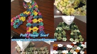Crochet Puff Stitch Flower Scarf Crochet Tutorial