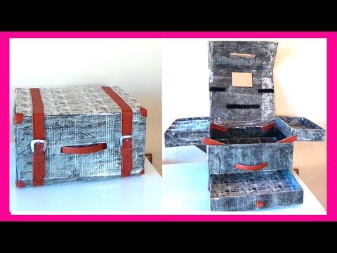 Como hacer un maletín organizador de maquillaje con cajas de cartón, manualidades fáciles