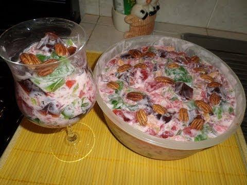 Gelatina Cuadros con Yoghurt y Fruta