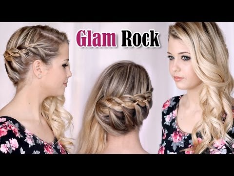 Glamorous french 4-strand braid with curls