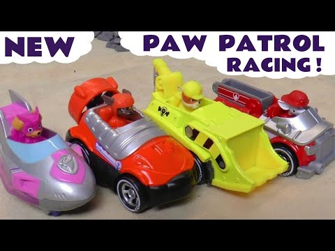 Paw Patrol Mighty Pups Racing with Pixar Cars McQueen and Funny Funlings Full Episode English