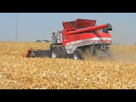 Massey Ferguson 9895 & 9540 Combine & New Kinze 1100 Track Grain Cart Farm Progress Show 2011