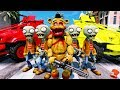 ZOMBIE FREDDY PLANTS vs ZOMBIE CRIME FIGHTING SQUAD ANIMATRONICS GTA 5 Mods FNAF RedHatter