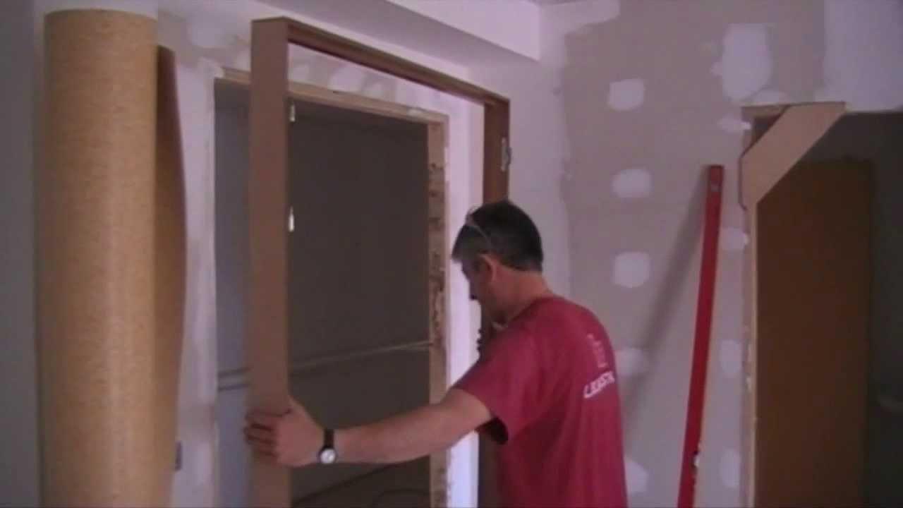 How to install a door como instalar una puerta youtube for Marco puerta madera