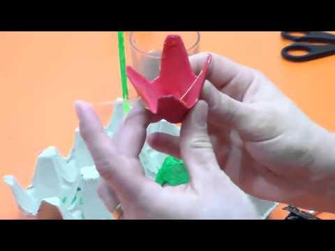 Manualidades caseras.Cómo hacer flores de cartón.Fácil y sencillo.