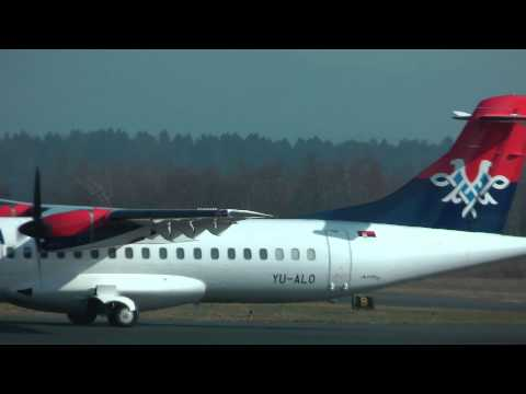 Air Serbia ATR 72-202 takeoff @ Brnik airport ( LJU/LJLJ ) HD
