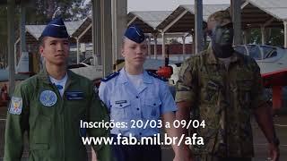 A Força Aérea Brasileira lançou as instruções específicas relativas à oferta de 84 vagas para os Exames de Admissão aos Cursos de Formação de Oficiais Aviadores, Intendentes e de Infantaria do ano de 2019 da Academia da Força Aérea (AFA). As inscrições começam na próxima terça-feira (20) e terminam no dia 9 de abril. Assista ao vídeo e saiba mais.