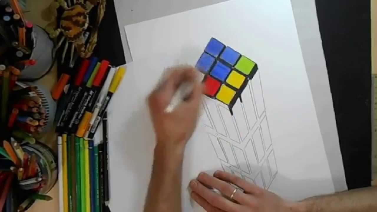 how to draw 3d rubik u0026 39 s cube c u00f3mo dibujar un cubo de rubik