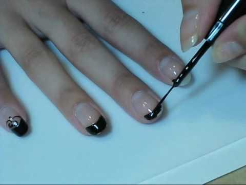 black french tips nail tutorial