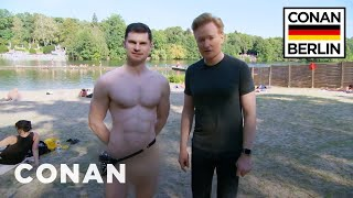 Conan & Flula Borg Visit A Nude Beach  - CONAN on TBS