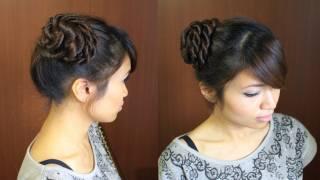 Ballerina Rope Braid Hair Bun Updo Hairstyle For Long Hair