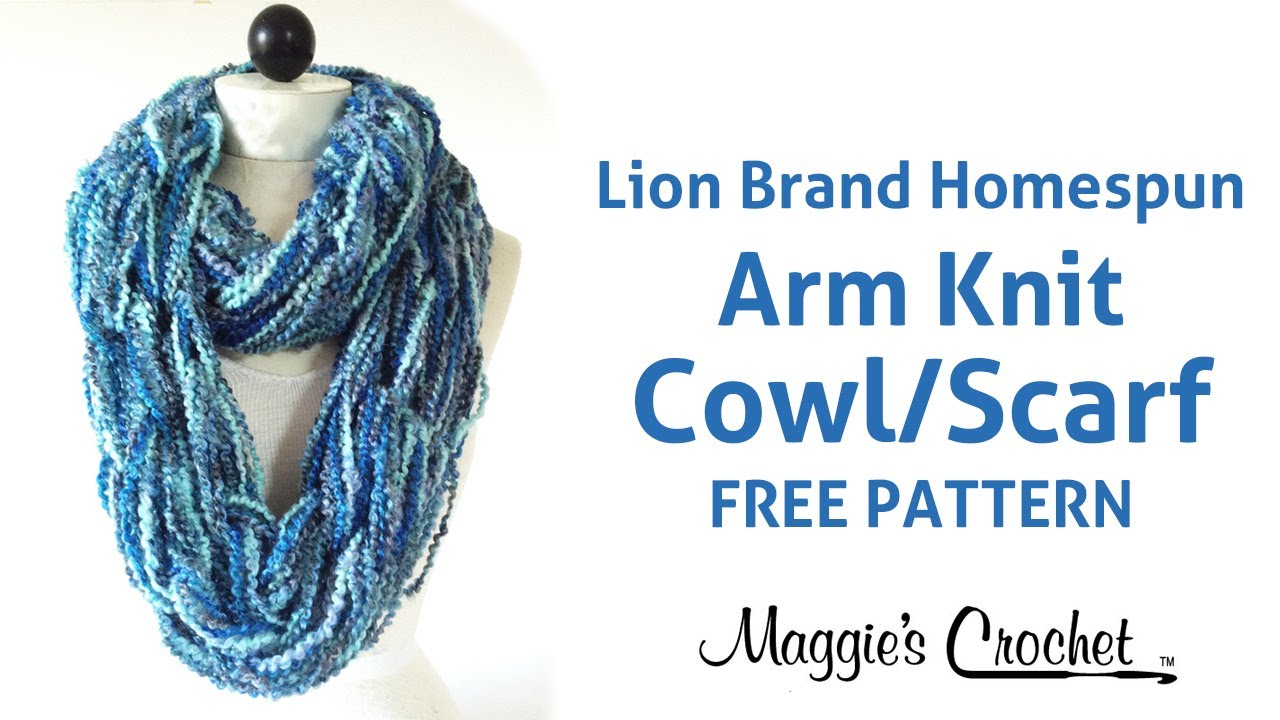 Infinity Scarf Knitting Pattern Lion Brand : Arm Knit Cowl Infinity Scarf with Lion Brand Homespun Yarn - Right Handed - Y...