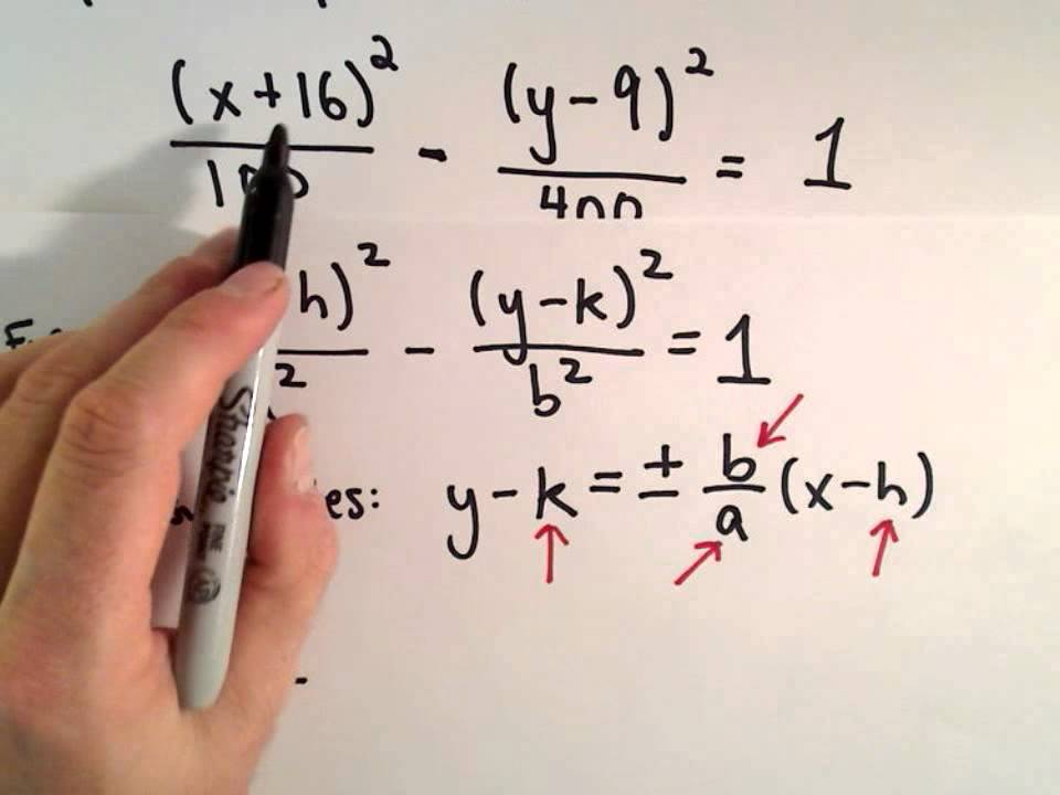 conic sections  hyperbola   shifted   find asymptotes