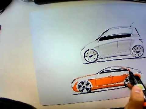 Car sketch markers - Como pintar un automóvil con rotulador y pastel