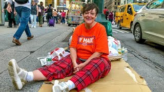 Disabled Homeless Woman Sleeps on the Streets of New York City