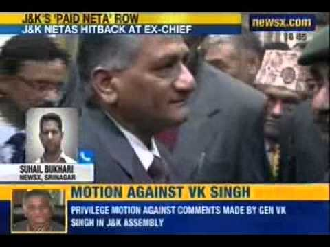 NewsX: Privilege motion moved against VK Singh in Kashmir assembly