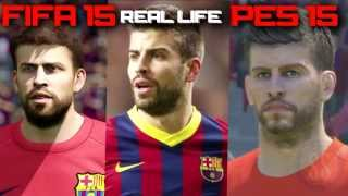 Fifa 15 Vs Real Life Vs Pes 15 F.C Barcelona All Faces