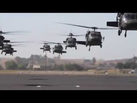 INCREDIBLE FOOTAGE!  UH-60 Black Hawks and CH-47 Chinooks of the California Army National Guard!