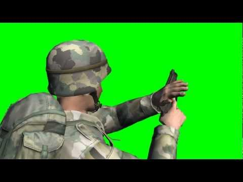 us soldier shoots with beretta - different views - free green screen effects