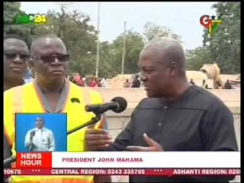 President Mahama inspects work on Legon-Madina- Adentan Road