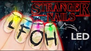 Stranger Things Christmas Lights Nail Art