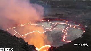 Lava Lake Visible Atop Hawaii's Kilauea Volcano