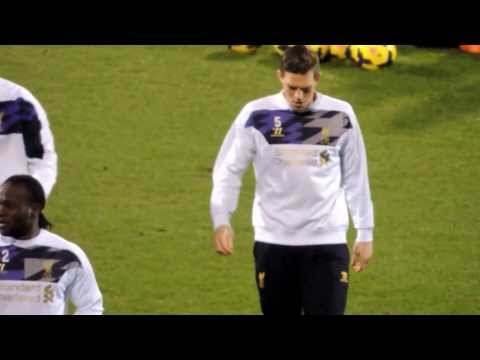 Daniel Agger warming up ahead of Fulham v Liverpool 12/02/14