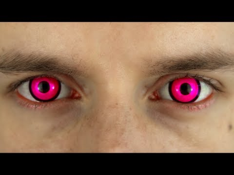 Bright Pink Colored Contact Lenses Terror Eyes Youtube