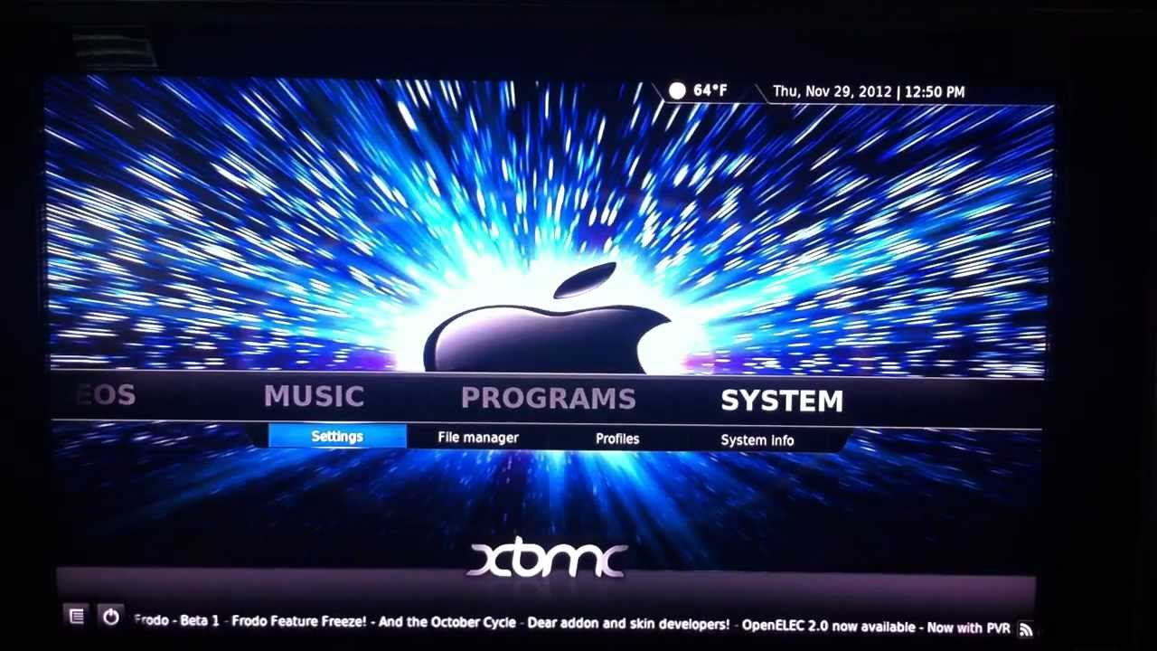 apple tv 2 how to change xbmc background and use custom