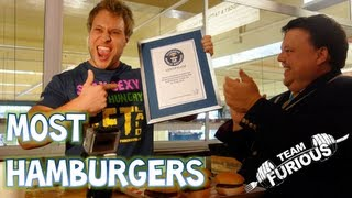 Most Quarter Pound Hamburgers Eaten in 1 Minute (Guinness World Records) | Furious Pete
