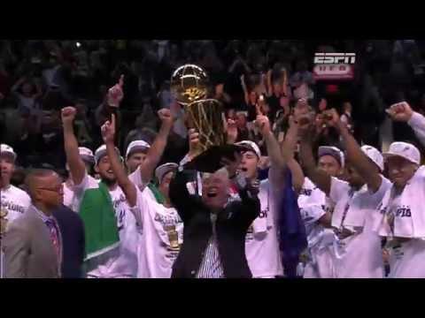 The San Antonio Spurs Receive the 2014 Championship Trophy
