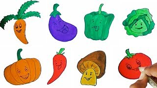 Vegetables Drawing and Coloring | Learn names of vegetables and colors
