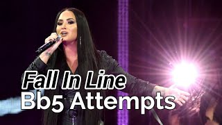 Demi Lovato 'Fall In Line' Bb5 High Note Attempts