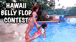 Belly Flop Contest in Hawaii   Asian Family Vloggers