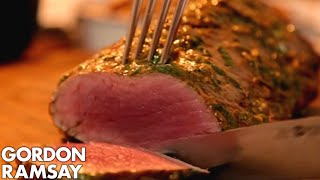 Rare Fillet of Beef with Salsa Verde & Truffled New Potatoes   Gordon Ramsay