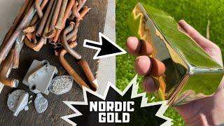 Nordic Gold Bar From Scrap Metal - Gold Bar - Trash To Treasure - ASMR Metal Melting