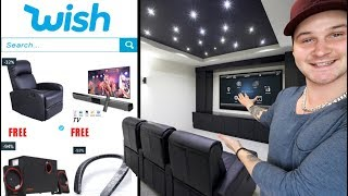 I Built A HOME THEATER Using FREE Items From WISH!!!