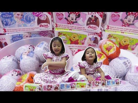 Mainan Anak Unboxing Surprise Zaini Eggs 3D Collections Inside Frozen Elsa, Minnie, Winnie the Pooh