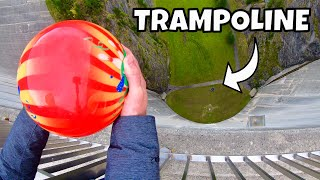 /bowling ball vs trampoline from 165m dam