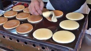 Japanese Street Food - Japanese Pancake DORAYAKI Jiggly Fluffy Cake