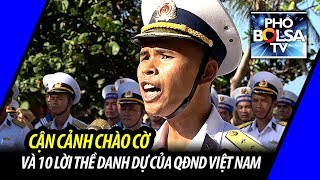 Cận cảnh chào cờ và đọc 10 lời thề danh dự của quân nhân trên đảo Sơn Ca